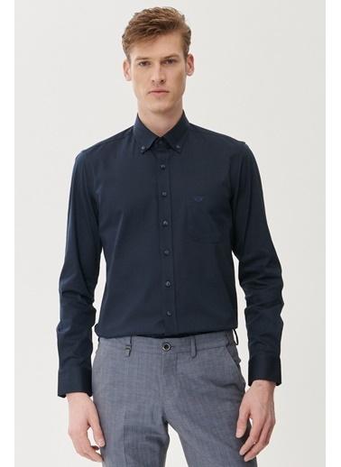 Beymen Business Slim Fit İpliği Boyalı Gömlek 4B2021100001 Lacivert